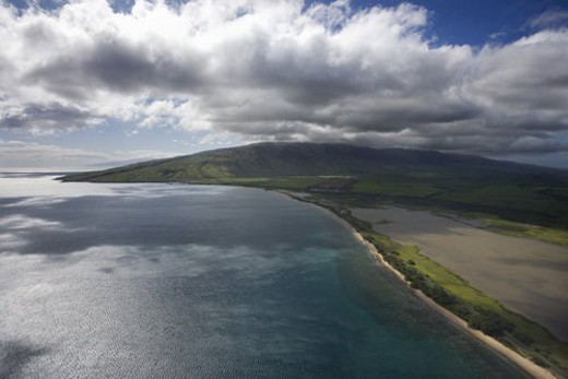 Stock Photo: 4029R-75279 Aerial of Maui, Hawaii coast.