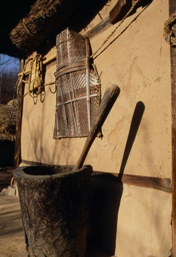 pestle, scene, mortar, korean house, rural area, tradition, landscape : Stock Photo