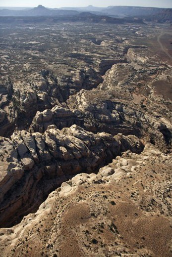 Aerial of southwest desert canyon in Canyonlands National Park in Utah, USA. : Stock Photo