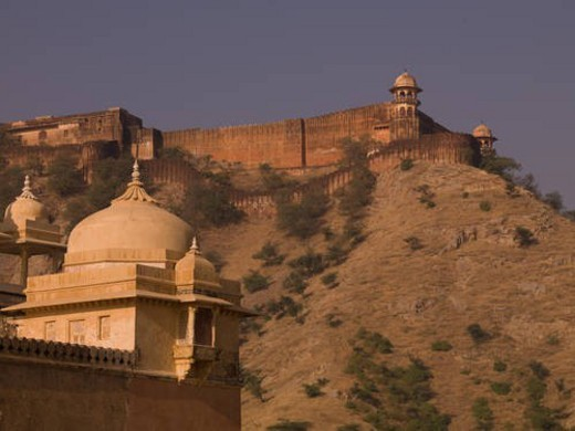 Stock Photo: 4029R-80865 Exterior wall of Amber Fort, Jaipur, India