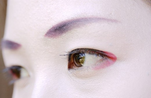Close-up portrait of Geisha woman : Stock Photo