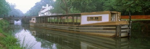 C&O Canal and canal boat : Stock Photo