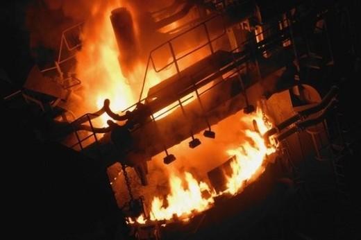 Molten steel factory : Stock Photo
