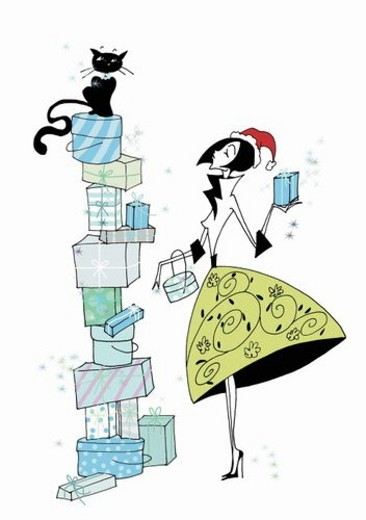 Woman with a tower of presents : Stock Photo