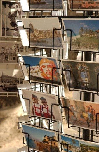 Post cards on a rack in a store, Havana, Cuba : Stock Photo