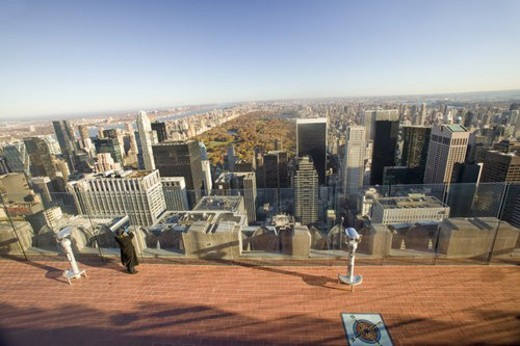 Stock Photo: 4029R-85428 Girl looking at panoramic view of New York City and Central Park