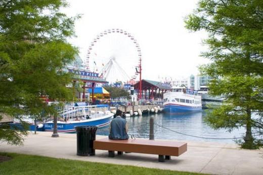 Stock Photo: 4029R-86641 Ferris wheel at Navy Pier Chicago