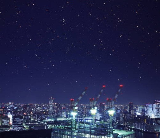 Cityscape in the night, long exposure, Tokyo prefecture, Japan : Stock Photo