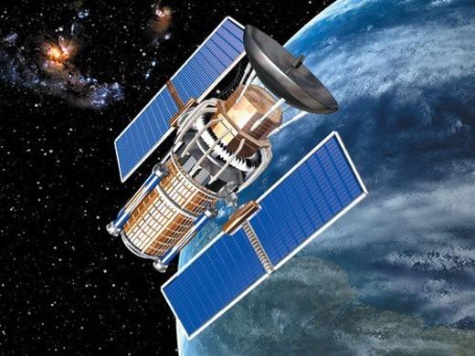 Stock Photo: 4029R-88116 universe, blue, black, planet, technology, satellite