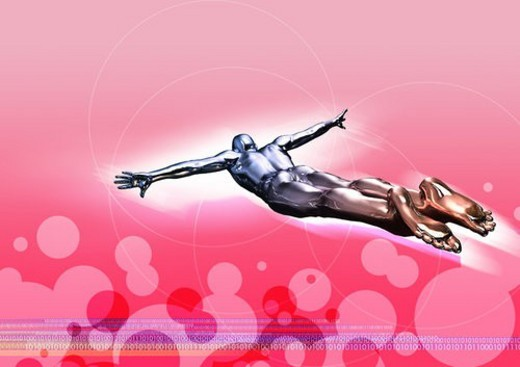 Metallic human form diving into a red background : Stock Photo