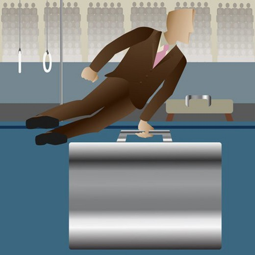 Stock Photo: 4029R-91086 Businessman performing gymnastics on a briefcase