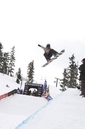 Whistler ski and snowboard fetival 2007. Half pipe competition. : Stock Photo