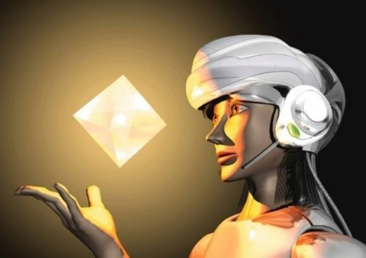 Imaginary humanoid robot, Illustration, CG, Close Up, Side View : Stock Photo