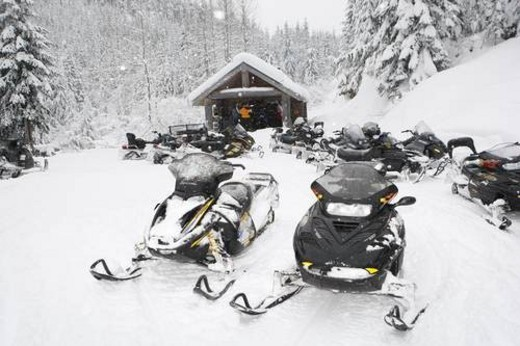 snowmobile adventure tour in Whistler British Columbia : Stock Photo