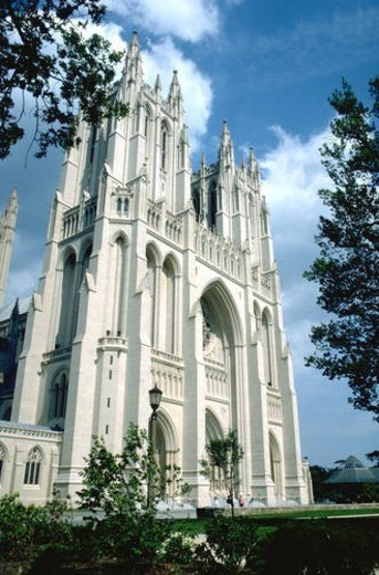 Front of National Cathedral with blue sky and clouds. Washington DC USA : Stock Photo