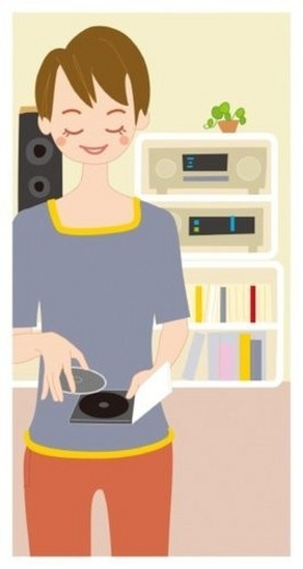 Woman Who Listens to The Music, Illustrative Technique : Stock Photo