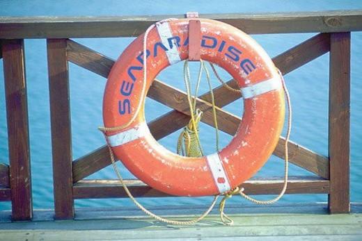 scenery, wooden, railing, sea, rope, life buoy : Stock Photo