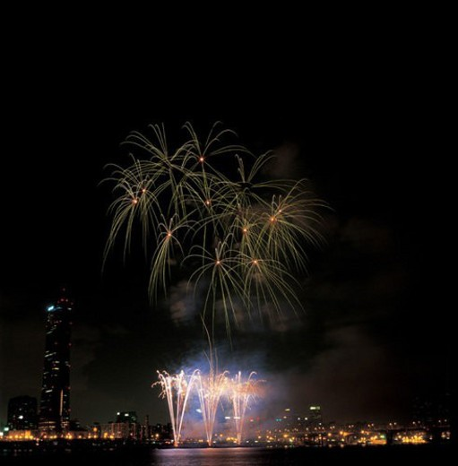 city, fireworks, landscape, scenery, river, city scenery, night : Stock Photo