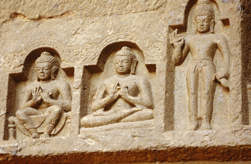Stone Carvings of Buddha, Shiva and Rama, India : Stock Photo