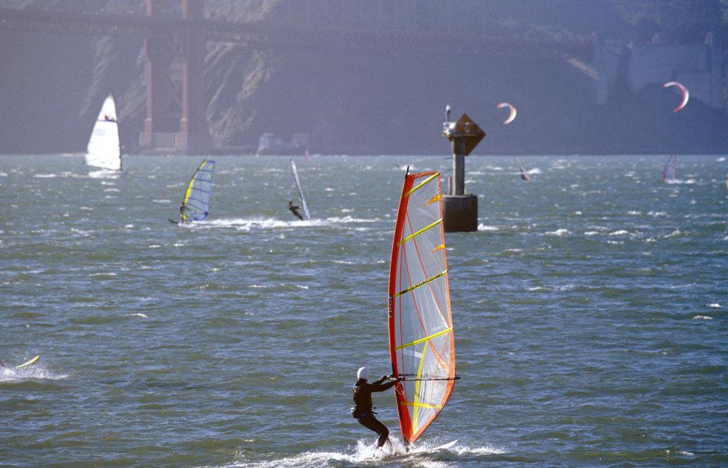 Windsurfing, San Francisco, California, North America : Stock Photo
