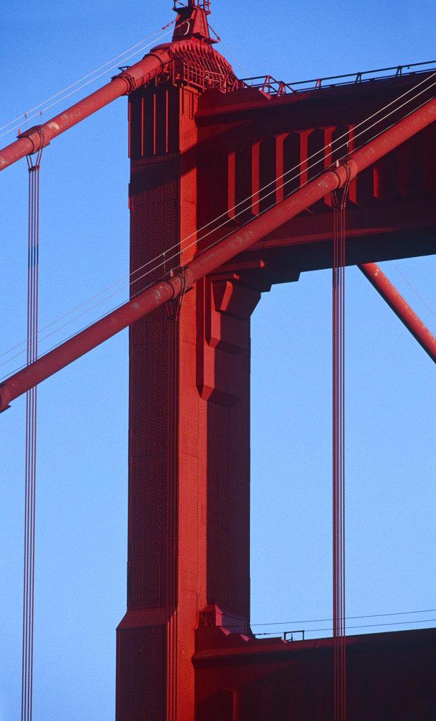 Stock Photo: 4030-1491 Detail of Golden Gate Bridge, San Francisco, California, North America