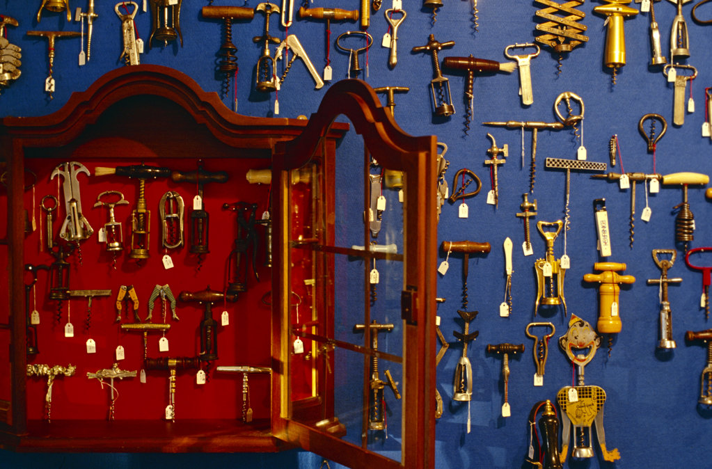 Stock Photo: 4030-1637 Assortment of Corkscrews, Franschhoek, South Africa