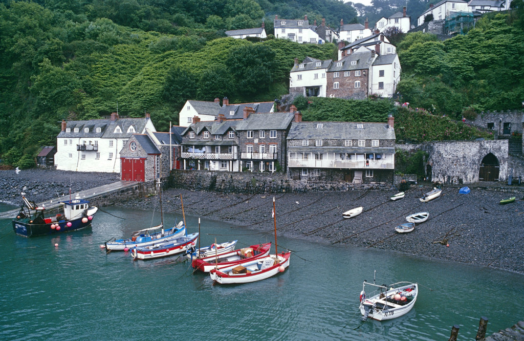 Clovelly Harbor, Devon, England, United Kingdom : Stock Photo