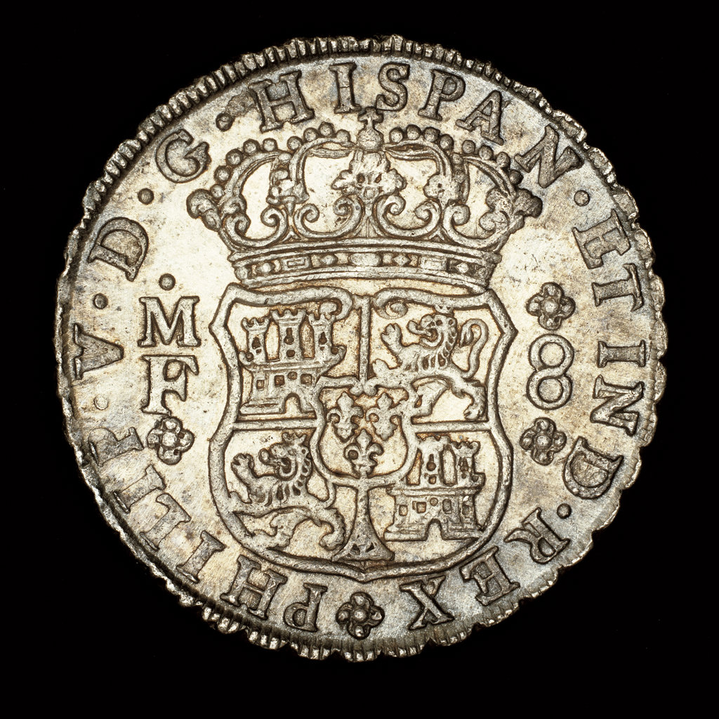 Stock Photo: 4030-2812 Rare Silver Coin, Spanish America King Ferdinand VI, 8 Reale, Crowned Shield with Spanish Arms 1740