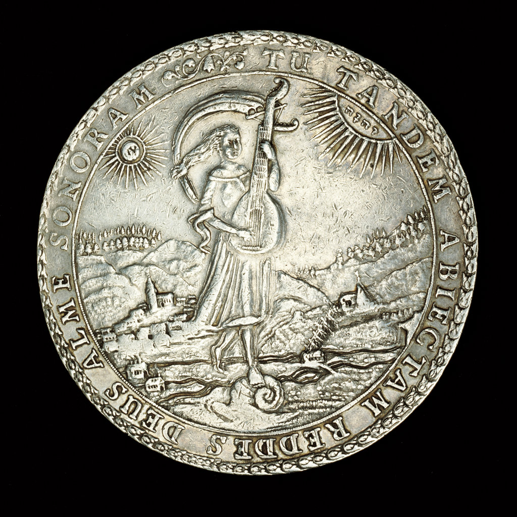 Stock Photo: 4030-2844 Rare German Coin, Brunswick, Wolfenbuttel, Duke Rudolf August, Silver Triple Losertaler, Girl with Lute, Luteivthal Valley behind