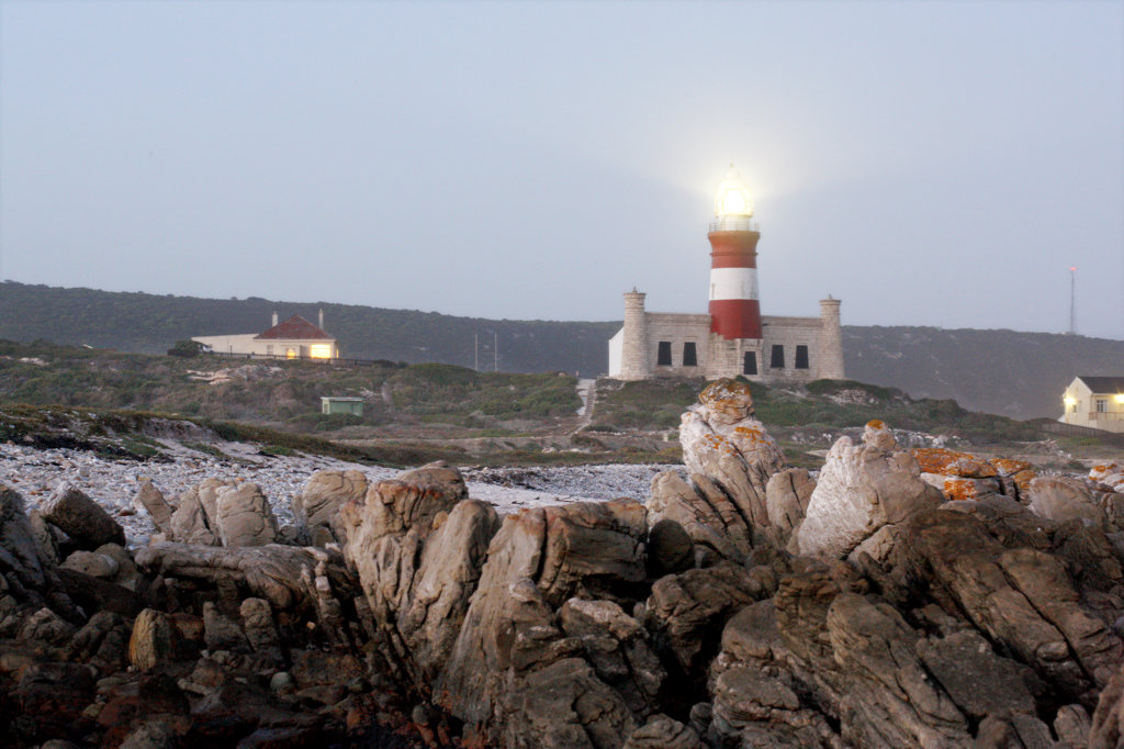 Cape Agulhas - the southernmost point of Africa. The dividing point between the Atlantic and Indian Ocean : Stock Photo
