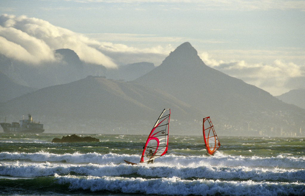 Windsurfers at Table View/Big Bay area, Cape Town : Stock Photo