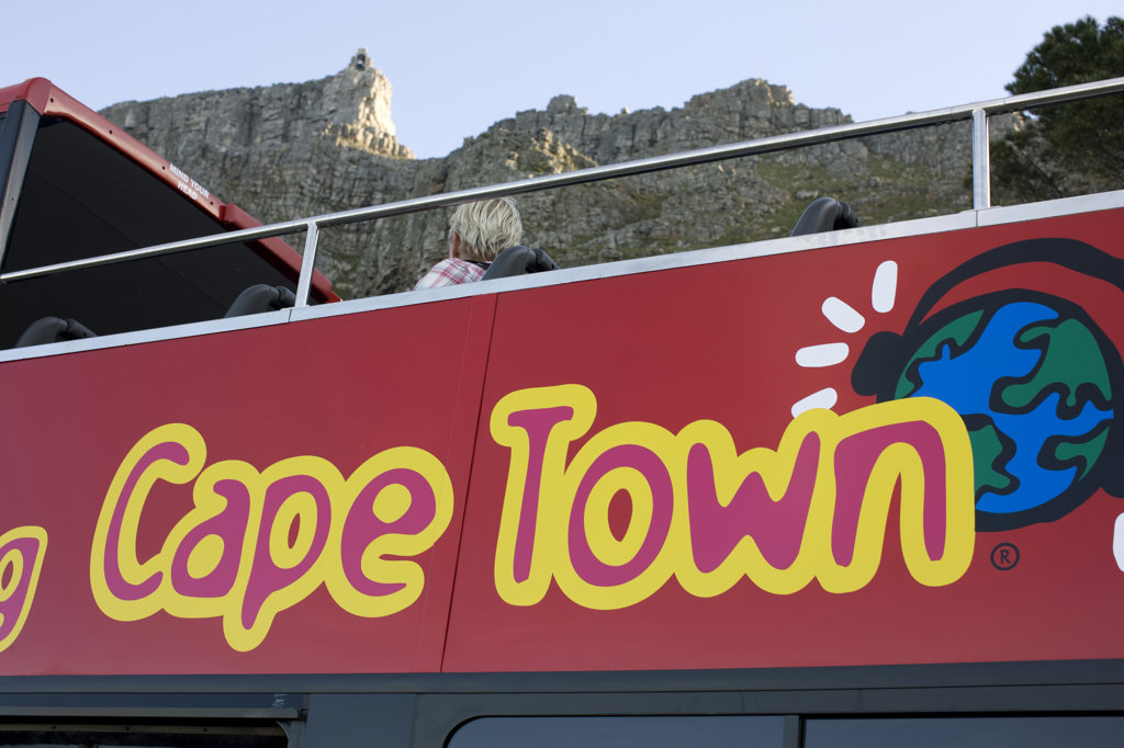 Stock Photo: 4030-4788 Table Mountain from topless red bus, Cape Town, Western Cape