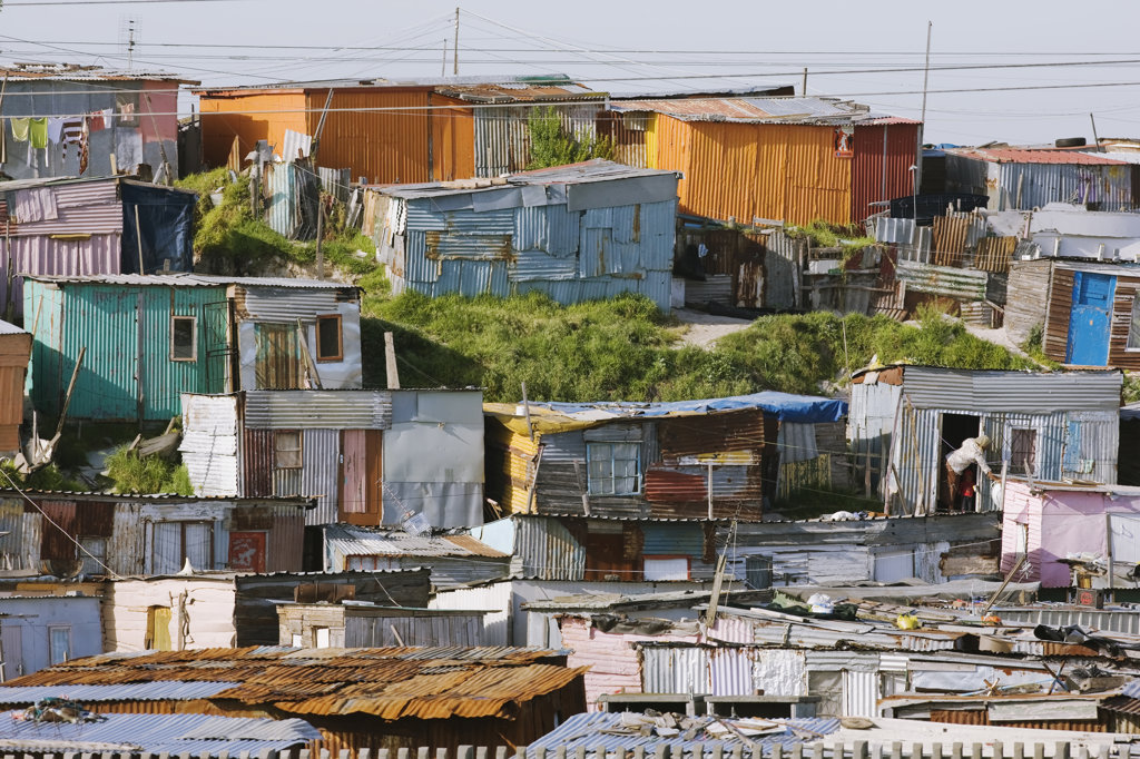 Stock Photo: 4030-4840 Township shacks, South Africa