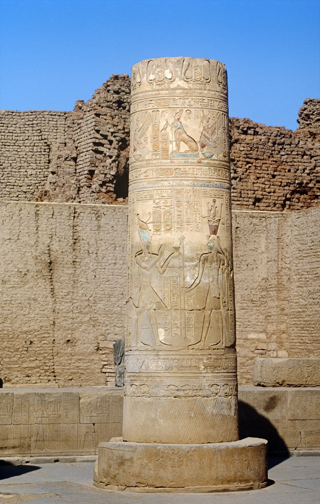 Column with Hieroglyphics in Temple of Kom Ombo, Kom Ombo, Egypt : Stock Photo