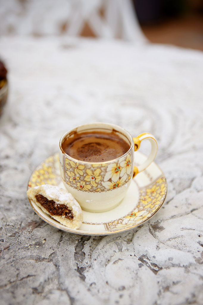 Stock Photo: 4030-5292 Turkish Coffee with Date Sweet