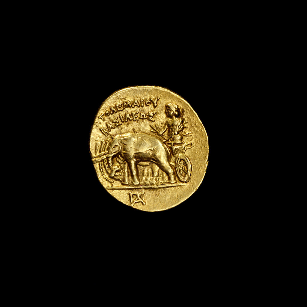 Stock Photo: 4030-5832 Ancient Egyptian coin depicting Alexander the Great driving a quadriga of elephants, 304-283BC