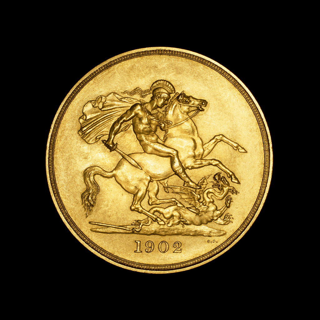 Stock Photo: 4030-5860 British Coin depicting St. George and the Dragon, 1902