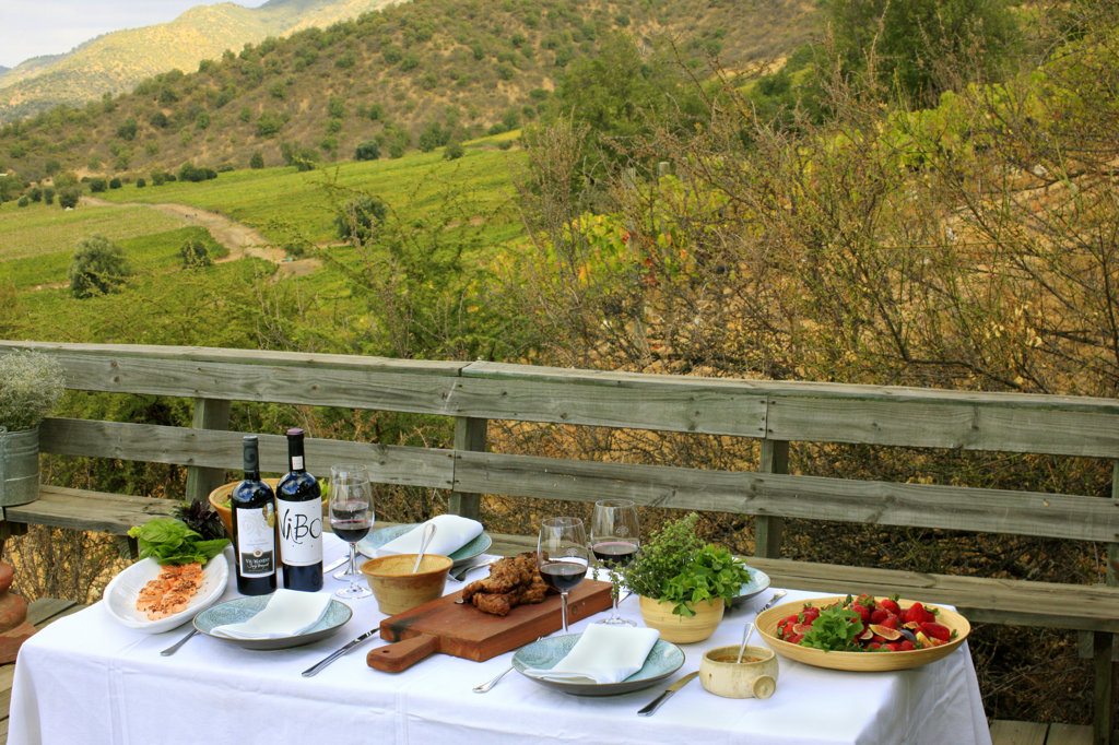 Stock Photo: 4030-6422 Al Fresco Lunch Table, Chile
