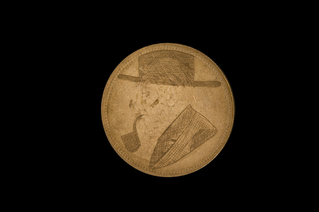 Stock Photo: 4030-7053 Paul Kruger wih Hat and Pipe, South African Coin defaced by Anglo-Boer War POW's
