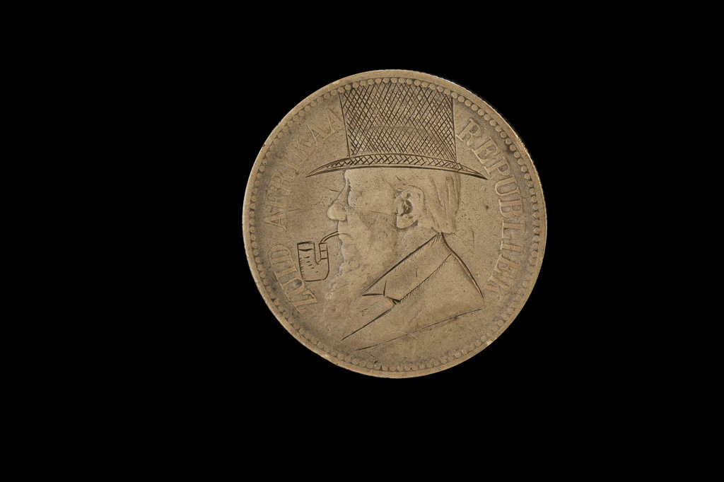 Paul Kruger wih Hat and Pipe, South African Coin defaced by Anglo-Boer War POW's : Stock Photo