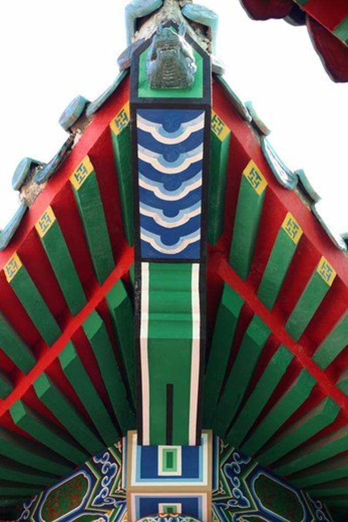 Architectural detail of a shrine, Koxinga Ancestral Shrine, Tainan, Taiwan : Stock Photo