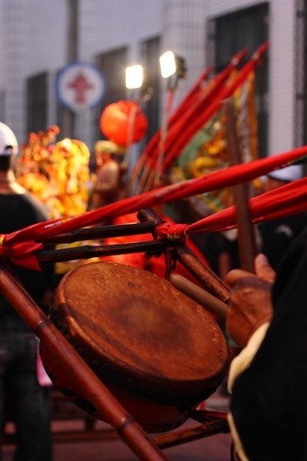 Drummer during a temple celebration, Tainan, Taiwan : Stock Photo