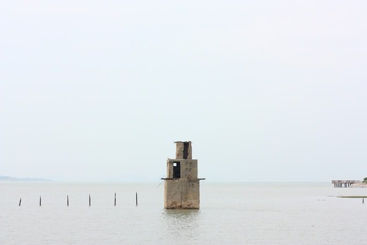 Taiwan, Kinmen County, Jincheng, Old military bunker during high tide : Stock Photo