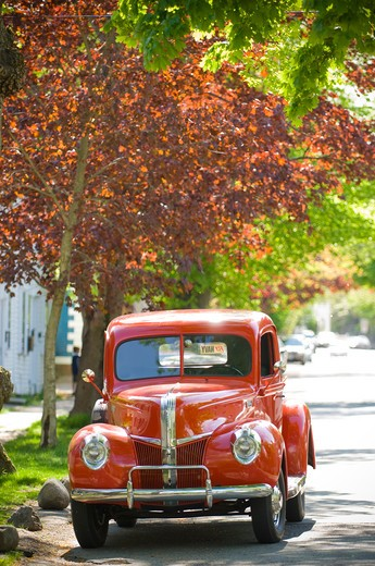 Stock Photo: 4033-233 Classic restored 1938 ford pick-up truck, Warwick, Rhode Island, USA