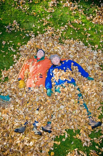 Stock Photo: 4033-359 Senior couple lying in heap of leaves, Bozeman, Montana, USA