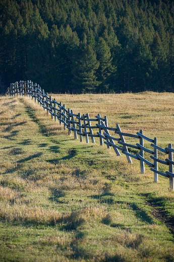 Fence in a pasture, Bozeman, Montana, USA : Stock Photo