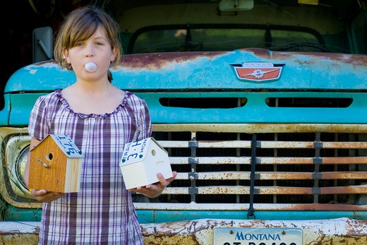 Girl blowing bubble gum and holding birdhouses in front of a rusty pick-up truck, Bozeman, Montana, USA : Stock Photo