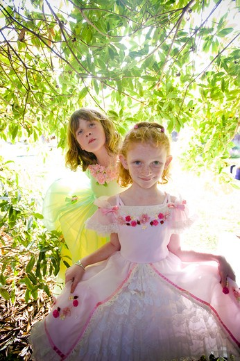 Stock Photo: 4033-371 Two girls in fancy dresses, San Diego, California, USA