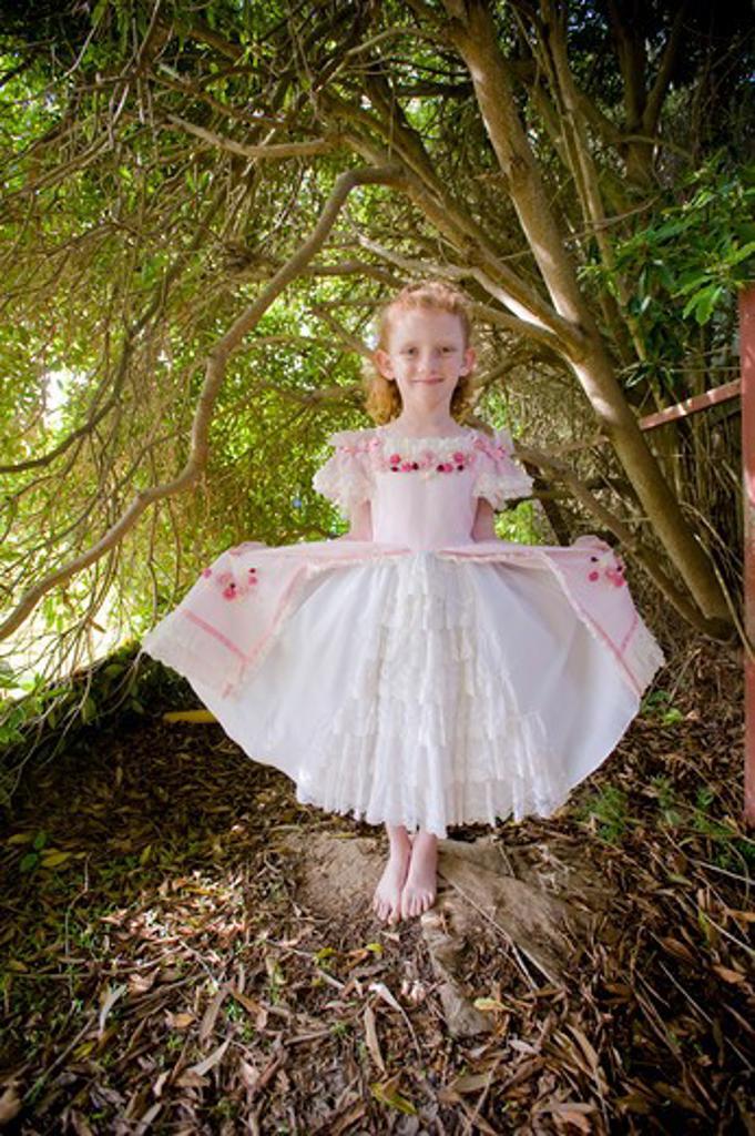 Girl in fancy dress, San Diego, California, USA : Stock Photo