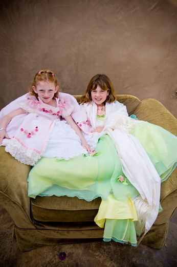 Stock Photo: 4033-373 Portrait of two girls in fancy dresses, San Diego, California, USA